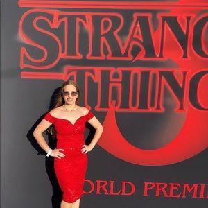 Red Carpet Sequin Dress Worn For Stranger Things 3